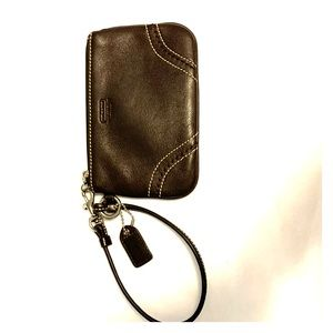 Beautiful brown leather Coach wristlet